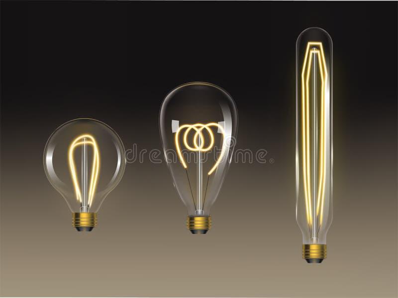 Ensemble d'ampoules de filament Rétros lampes d'edison d'isolement illustration stock