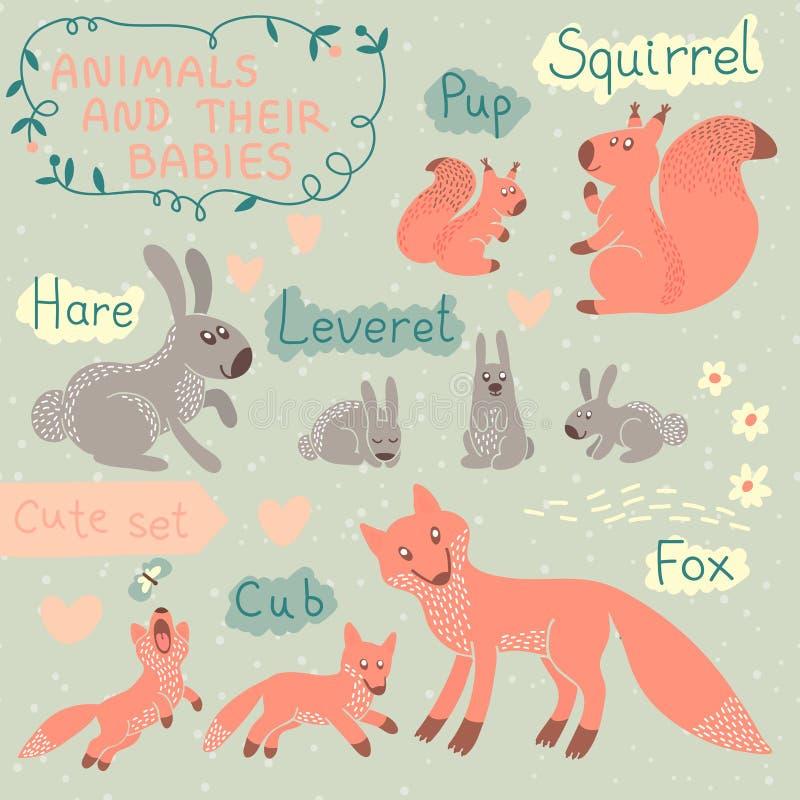 Ensemble d'animal de bébé et de maman illustration libre de droits