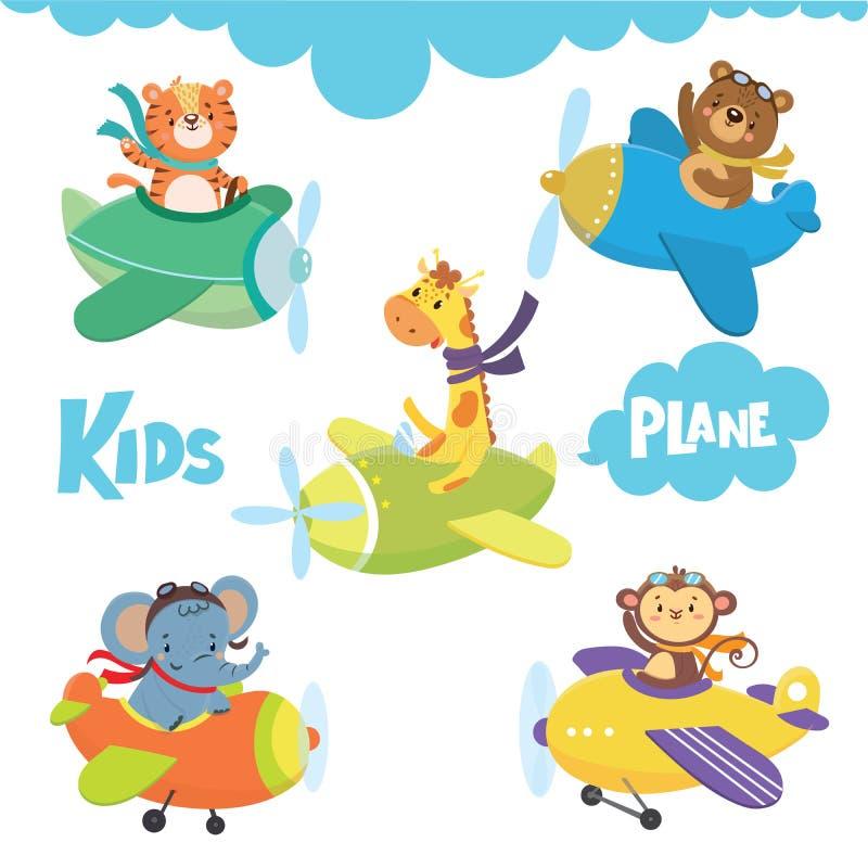 Ensemble d'animal mignon sur l'avion en ciel illustration de vecteur