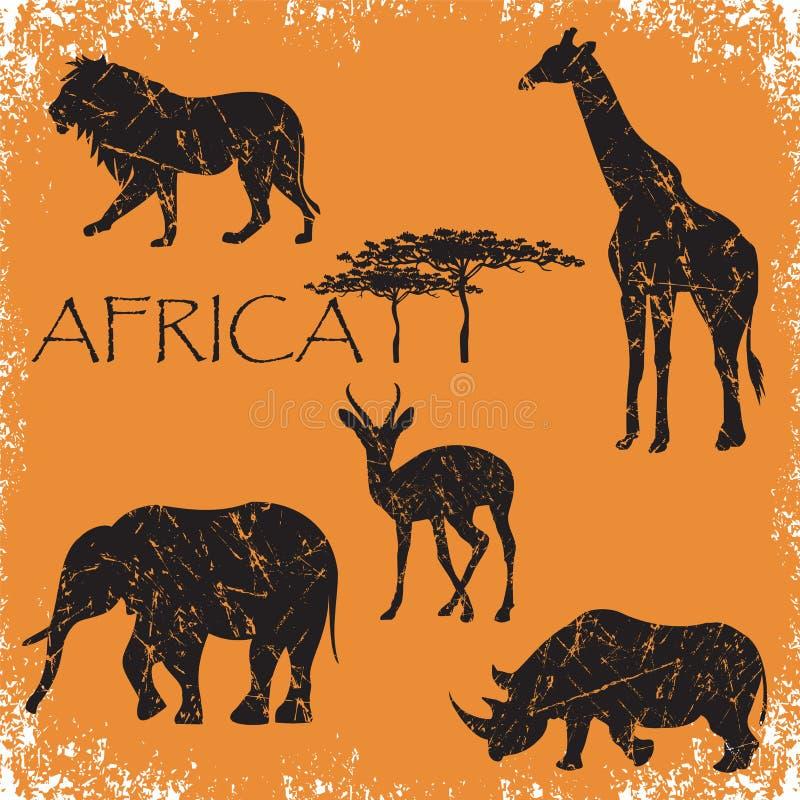 Ensemble d'animaux Afrique, éléphant, lion, girafe, cerf commun d'oeufs de poisson, rhinocéros, illustration grunge de vecteur illustration stock