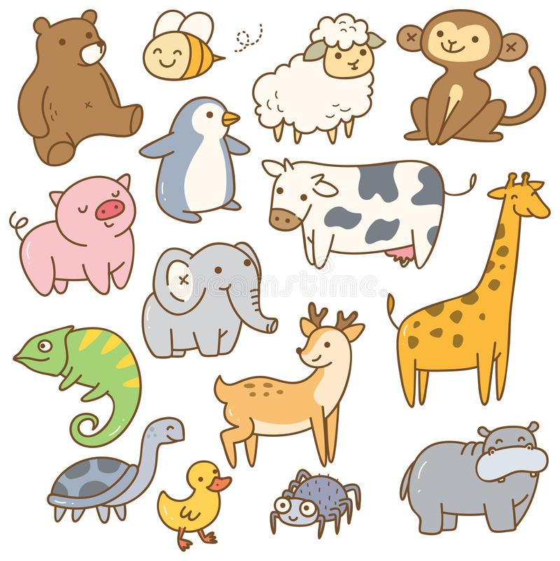 Ensemble d'animaux de dessin anim? illustration libre de droits