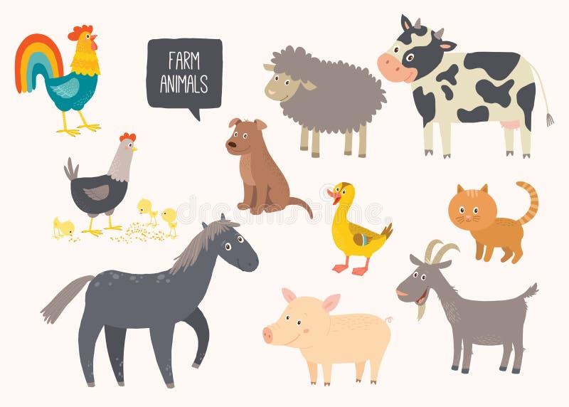 Ensemble d'animaux de ferme mignons Cheval, vache, mouton, porc, canard, poule, chèvre, chien, chat, coq Vecteur ENV tirée par la illustration stock