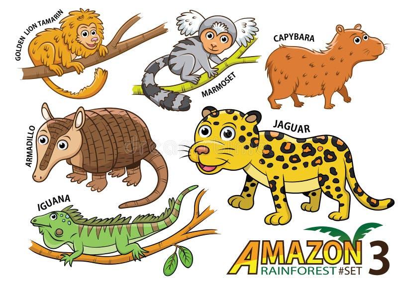 Ensemble d'animaux et d'oiseaux mignons de bande dessinée dans les régions d'Amazone de Sou illustration de vecteur