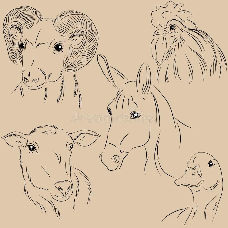 Ensemble d'animaux familiers d'illustrations Ferme agronomie monochrome illustration libre de droits
