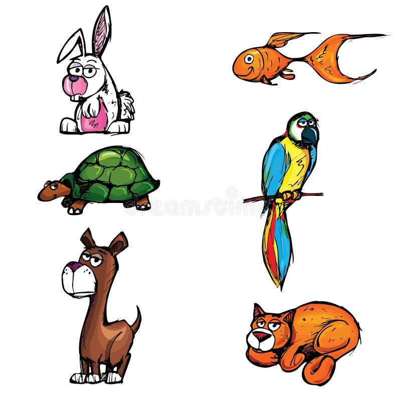 Ensemble d'animaux familiers de dessin animé illustration de vecteur