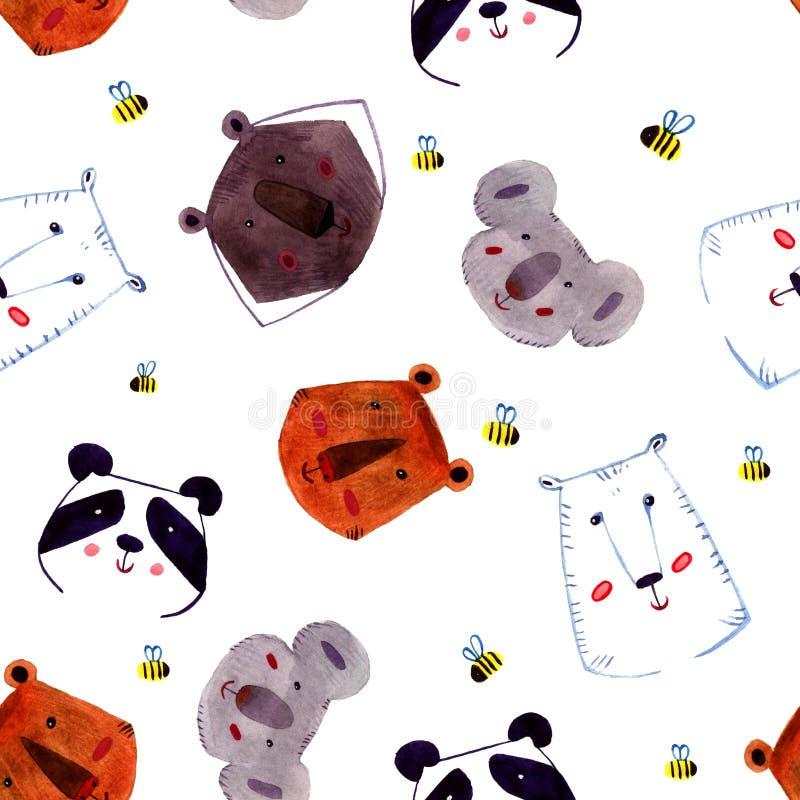 Ensemble d'animaux Illustration peinte à la main d'aquarelle d'ours photographie stock