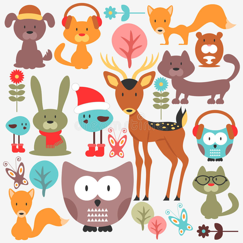 Ensemble d'animaux mignons illustration de vecteur