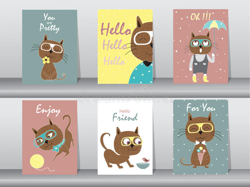 Ensemble d'animaux mignons affiche, calibre, cartes, chats, illustrations de vecteur illustration stock