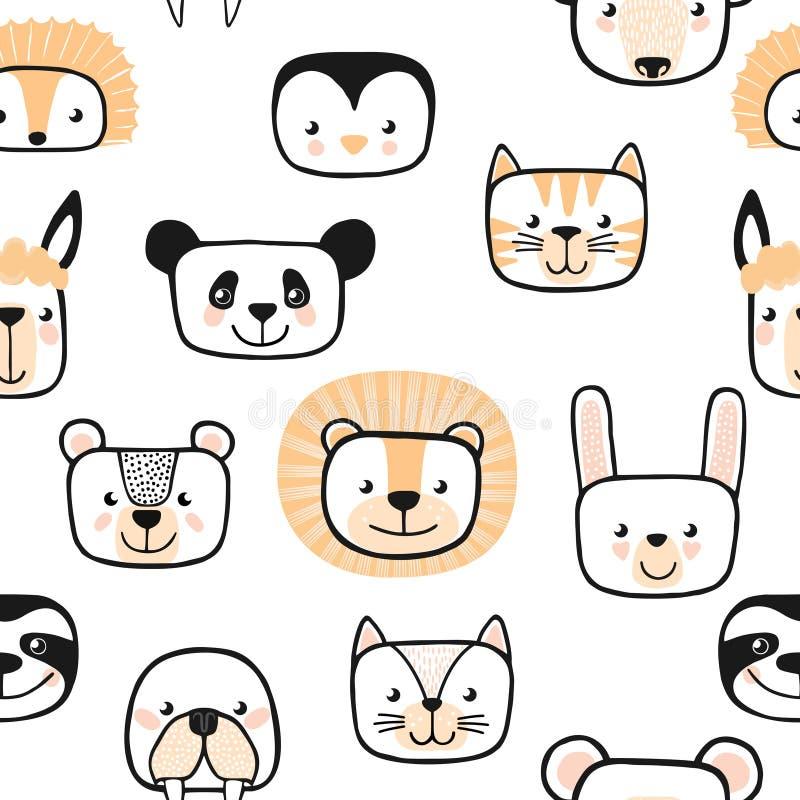 Ensemble d'animaux mignons caractère Configuration sans joint Vecteur illustration stock