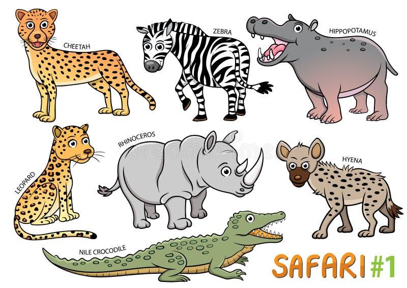Ensemble d'animaux mignons de bande dessinée et dans les secteurs de safari illustration de vecteur