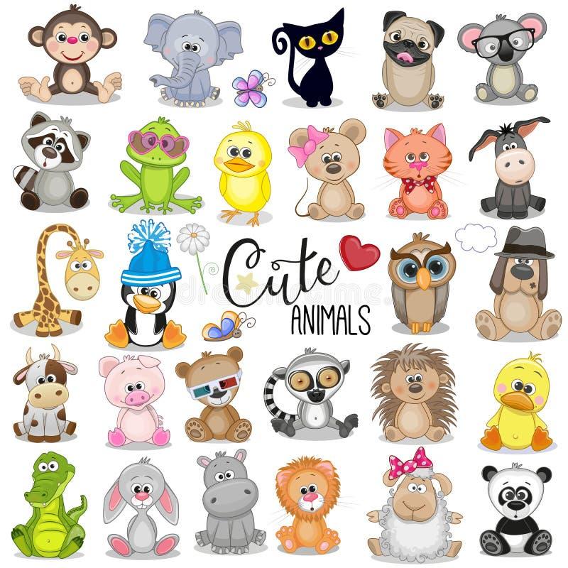 Ensemble d'animaux mignons de dessin animé illustration stock