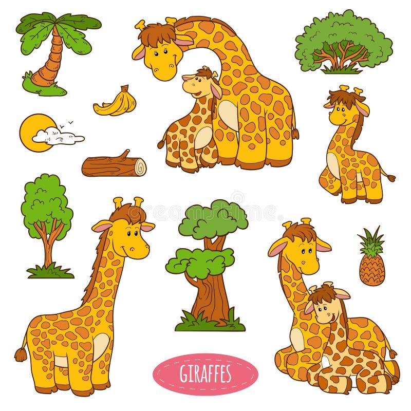 Ensemble d'animaux mignons et objets, autocollants de vecteur des girafes illustration libre de droits