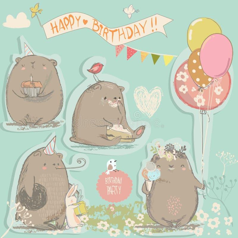 Ensemble d'anniversaire avec les ours mignons illustration de vecteur