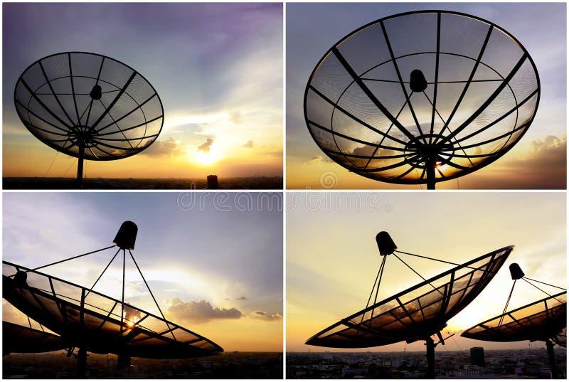 Ensemble d'antennes paraboliques sur le fond crépusculaire de ciel photos libres de droits