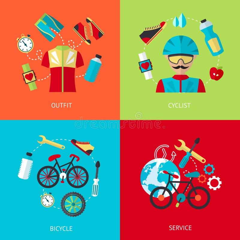 Ensemble d'appartement d'icônes de bicyclette illustration de vecteur