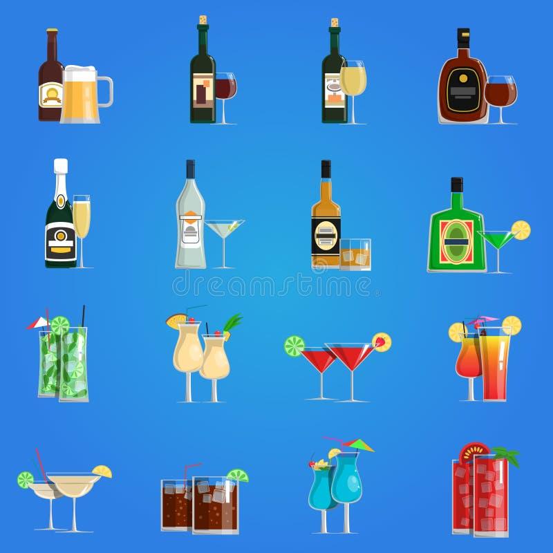 Ensemble d'appartement d'icônes de cocktail illustration de vecteur
