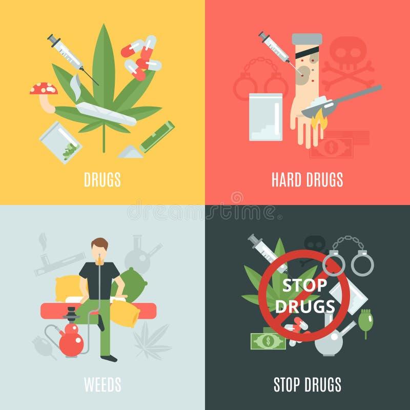 Ensemble d'appartement de drogues illustration de vecteur