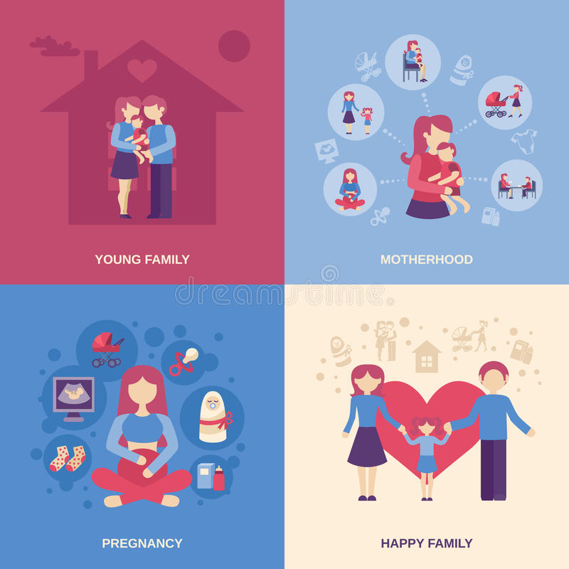 Ensemble d'appartement de maternité illustration stock