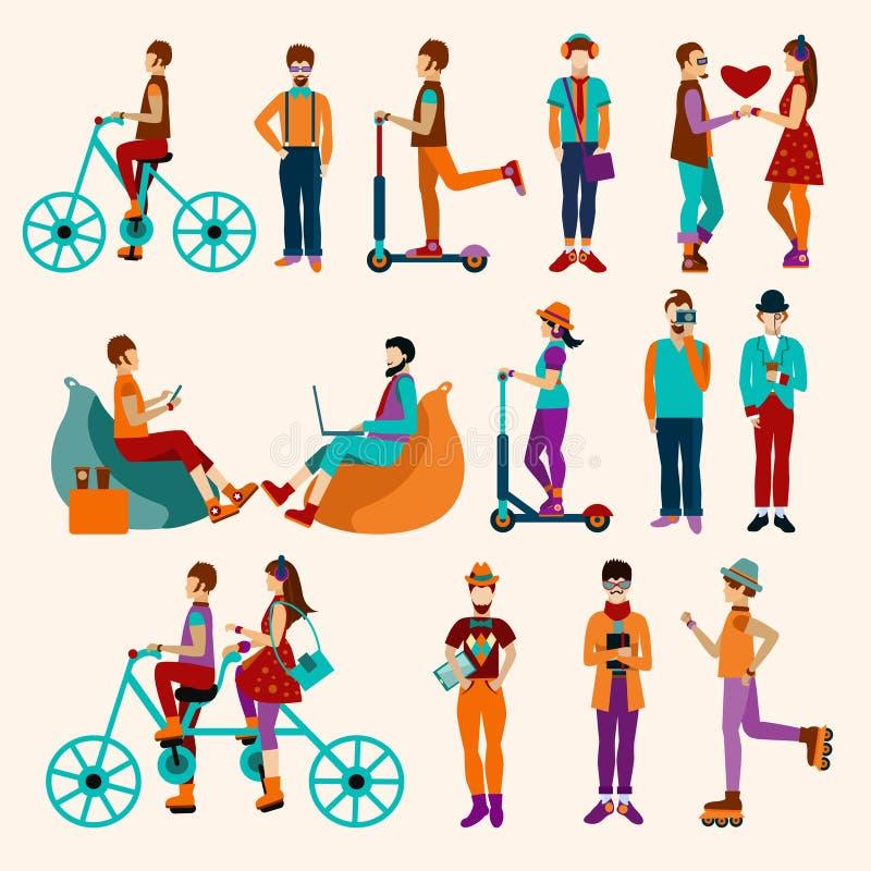 Ensemble d'appartement de personnes de hippie illustration de vecteur
