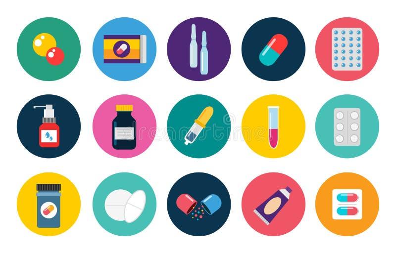 Ensemble d'appartement de vecteur d'icônes de capsules de pilules médical illustration libre de droits