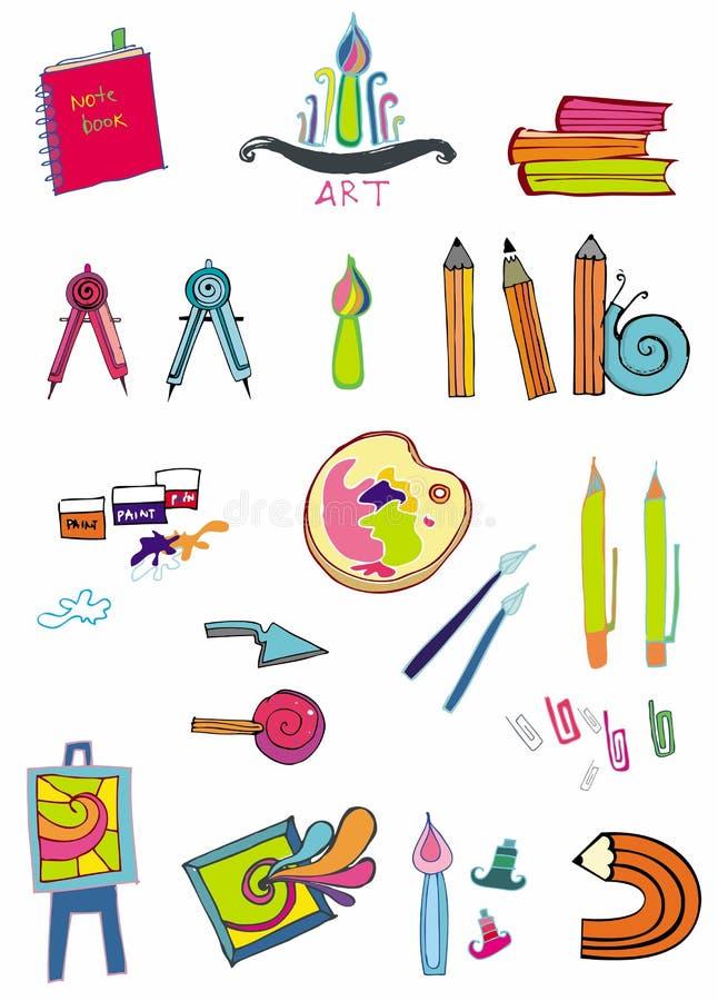 Ensemble d'approvisionnements d'art illustration stock