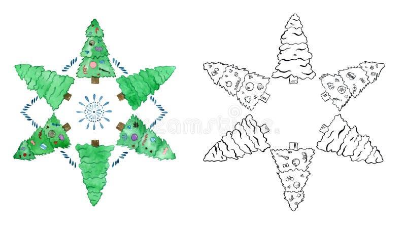 Ensemble d'aquarelle d'arbres de Noël colorés d'enfant illustration de vecteur