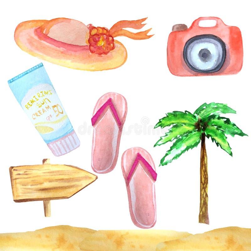 Ensemble d'aquarelle d'articles et d'accessoires d'été pendant des vacances sur un fond blanc illustration de vecteur
