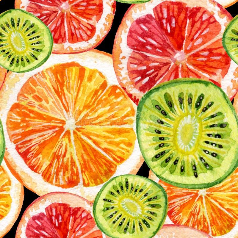 Ensemble d'aquarelle d'orange, de kiwi et de pamplemousse frais illustration stock
