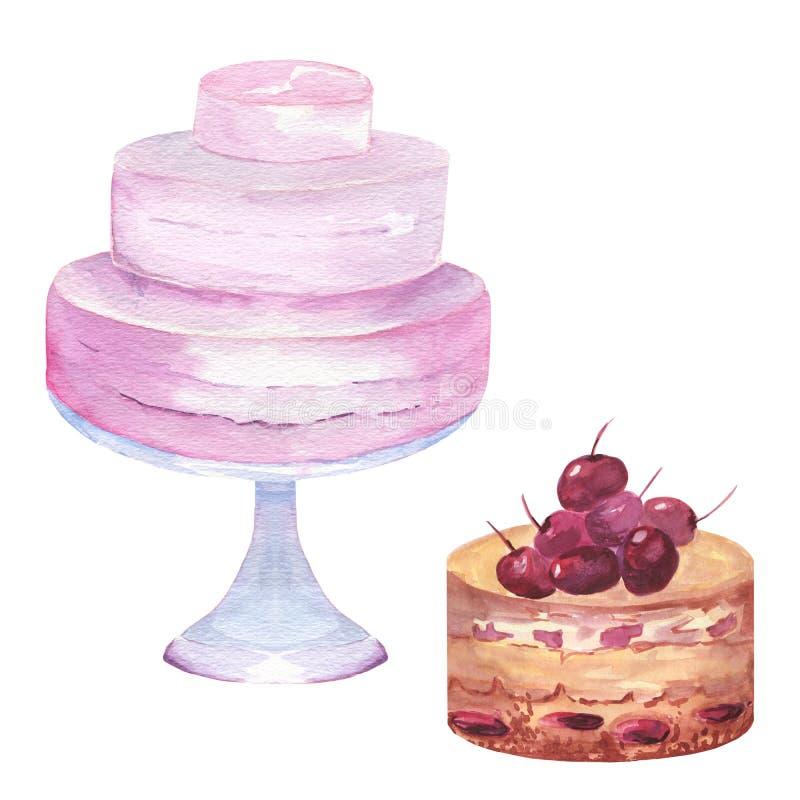 Ensemble d'aquarelle de gâteaux illustration stock