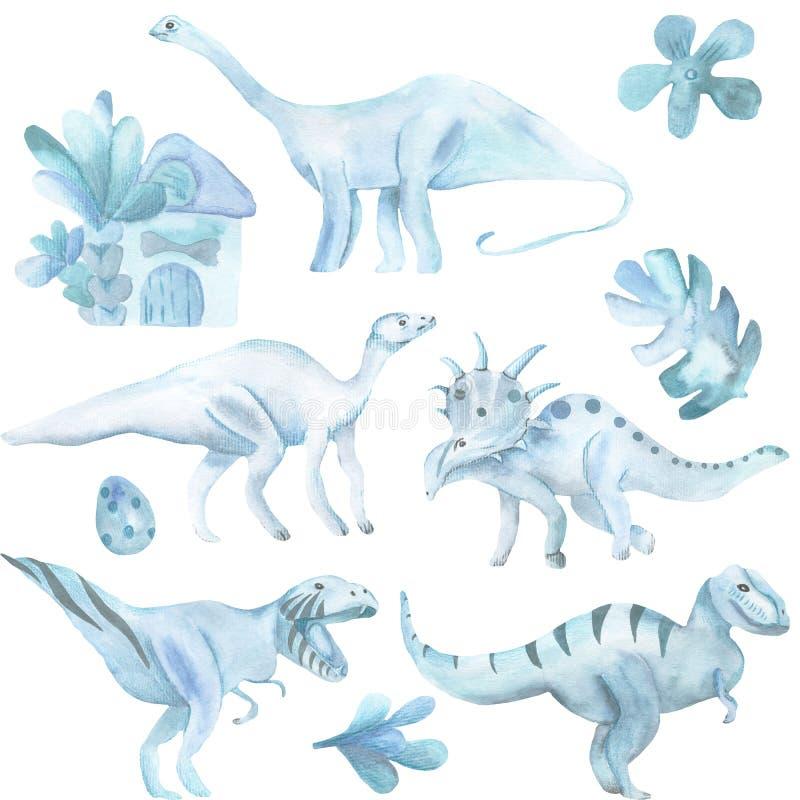 Ensemble d'aquarelle de grand, de dinosaures et de plantes tropicales illustration stock
