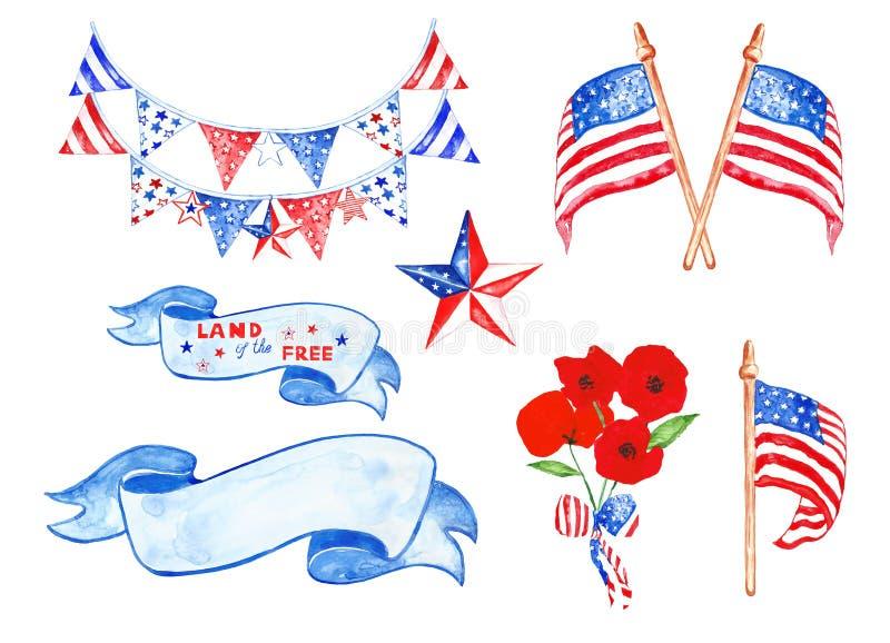 Ensemble d'aquarelle de Jour du Souvenir avec des drapeaux des USA, étoiles, accrocher décoratif, pavots, bannières de cru d'isol illustration libre de droits