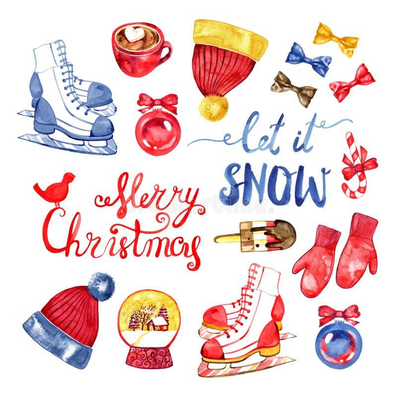 Ensemble d'aquarelle de symboles de Noël tiré par la main et de nouvelle année illustration libre de droits