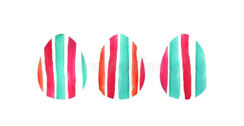 Ensemble d'aquarelle de trois oeufs multicolores illustration de vecteur