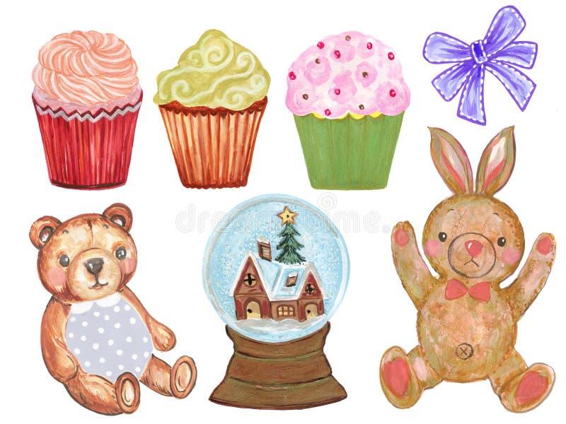 Ensemble d'aquarelle d'ours mignon de Bunny Teddy de lapin d'aquarelle de bande dessinée et de petit gâteau en pastel mignon avec illustration libre de droits