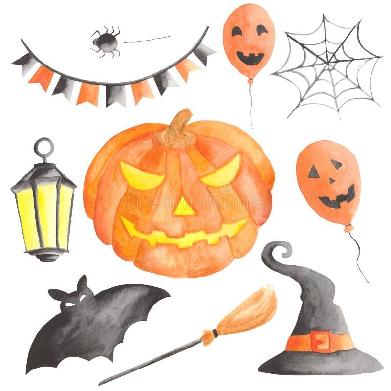 Ensemble d'aquarelle pour Halloween avec le potiron illustration stock