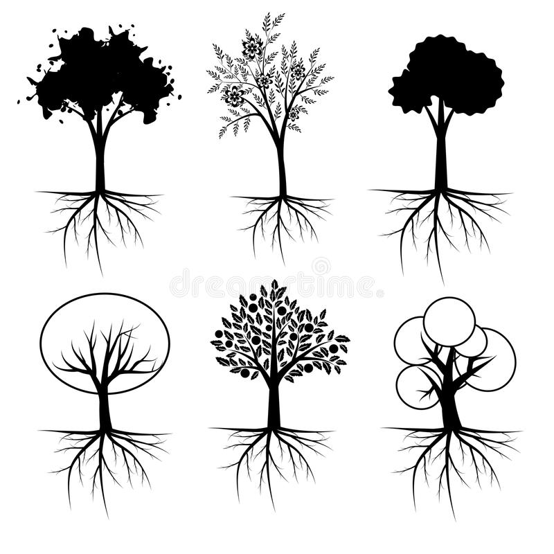 Ensemble d'arbre illustration libre de droits