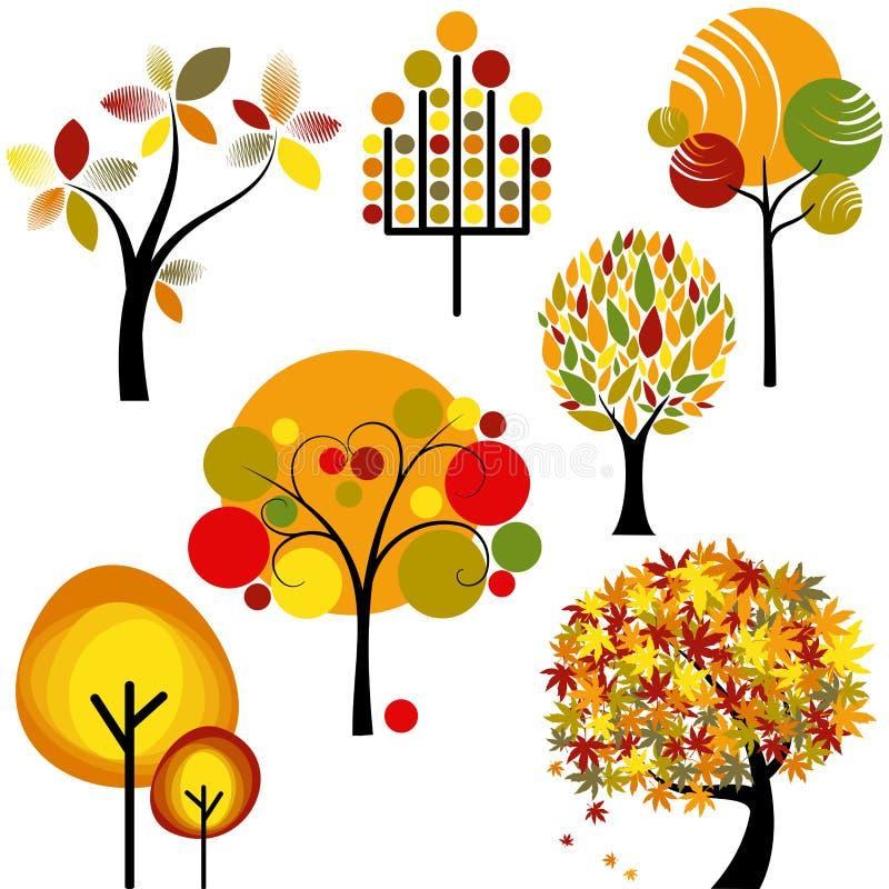 Ensemble d'arbre abstrait d'automne images libres de droits