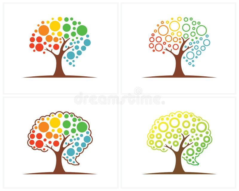 Ensemble d'arbre avec le calibre de conception de logo de cerveau, vecteur de conception de logo de Brain Colorful illustration libre de droits