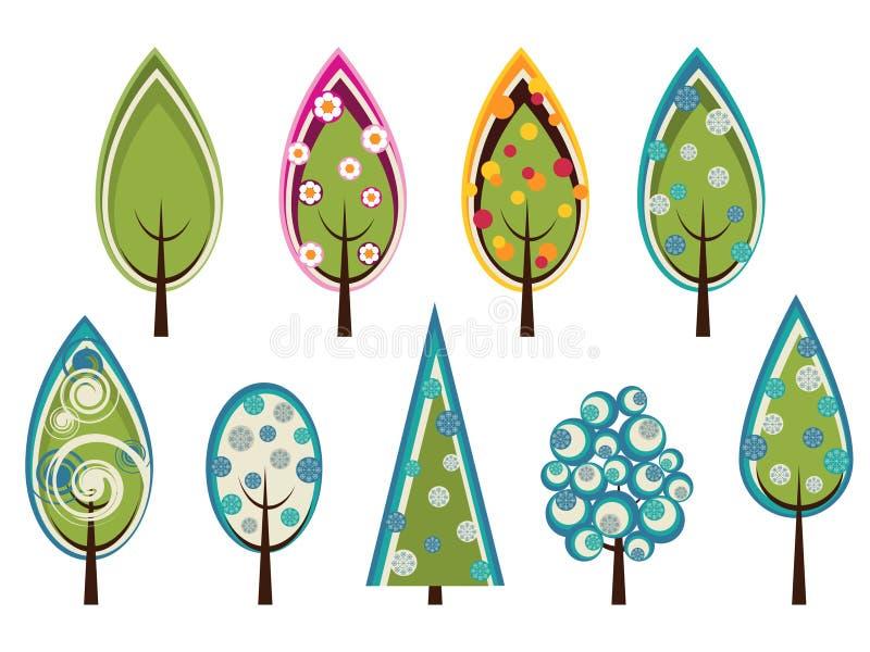 Ensemble d'arbres décorés illustration libre de droits