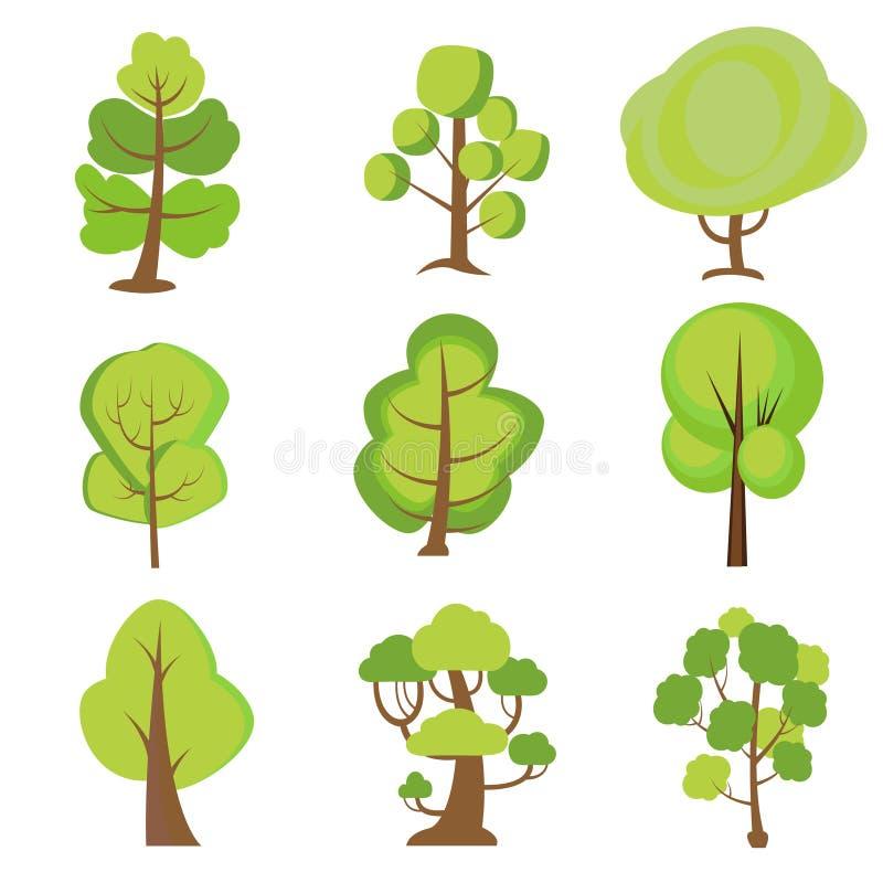 Ensemble d'arbres de dessin anim? Plantes vertes illustration libre de droits