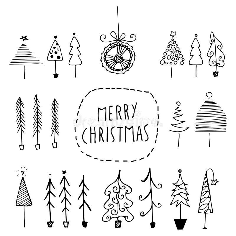 Ensemble d'arbres de Noël tirés par la main illustration libre de droits