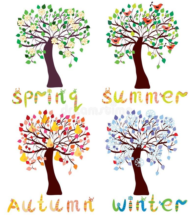 Ensemble d'arbres de saison dans le type enfantin illustration stock