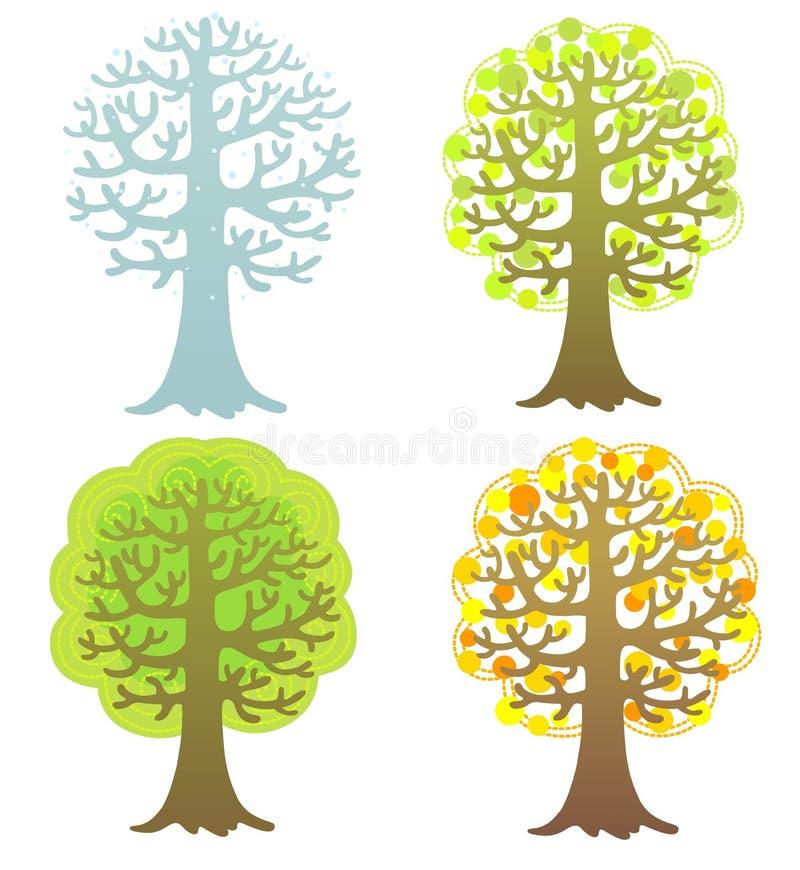 Ensemble d'arbres saisonniers d'isolement sur le blanc illustration libre de droits