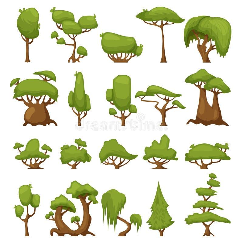 Ensemble d'arbres stylisés abstraits Parc de vecteur et arbres et buissons de jardin La forêt verte plante la collection arbre ve illustration de vecteur