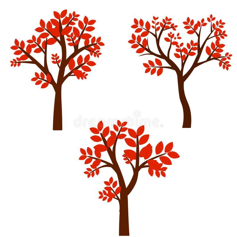 Ensemble d'arbres stylis?s d'abr?g? sur automne normal illustration stock