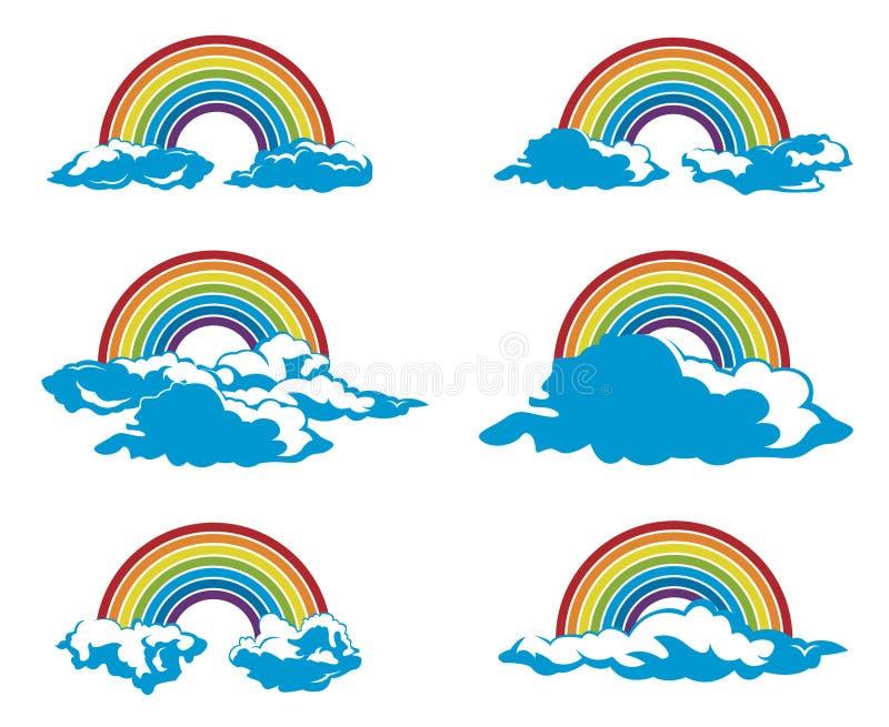 Ensemble d'arc-en-ciel et de nuages illustration libre de droits