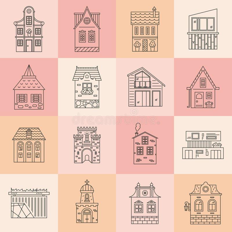 Ensemble d'architecture de ville illustration de vecteur