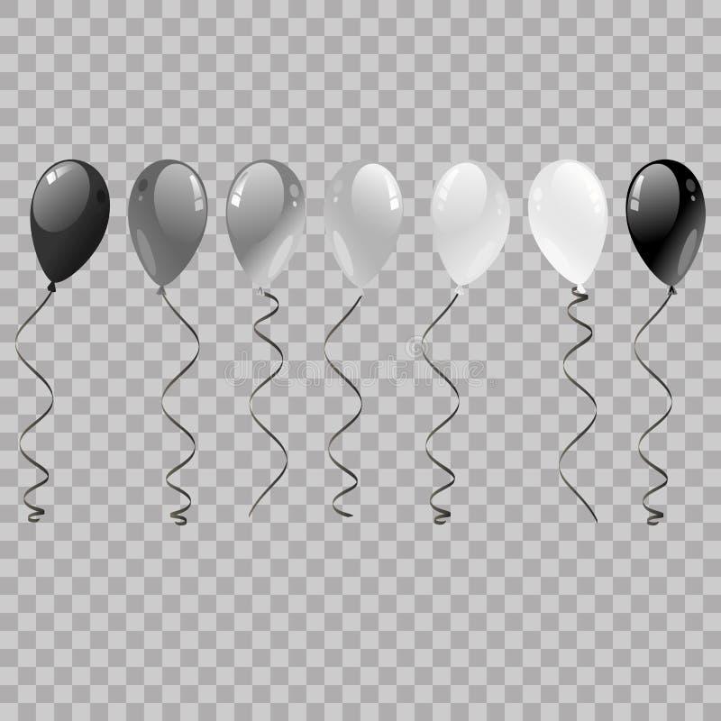 Ensemble d'argent, noir, blanc avec des ballons d'hélium de confettis d'isolement dans le ciel Ballons volant pour la partie et l