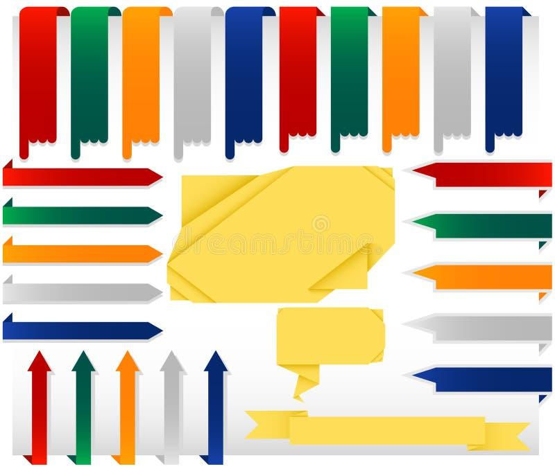 Ensemble d'arrêter des drapeaux de Web d'Origami illustration libre de droits