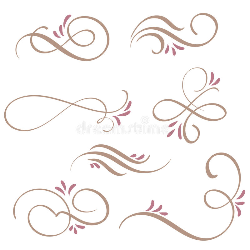 Ensemble d'art de flourish de calligraphie avec les spirales décoratives de vintage pour la conception Illustration EPS10 de vect illustration stock